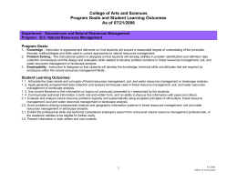College of Arts and Sciences Program Goals and Student Learning Outcomes