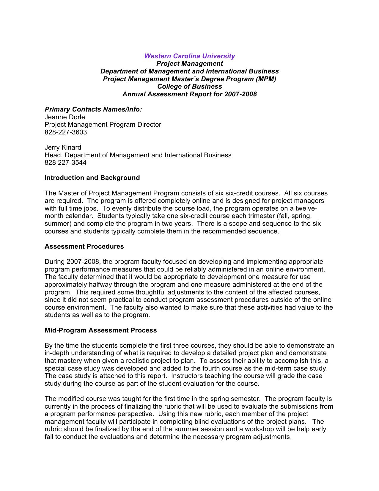 Western Carolina University Project Management Department Of