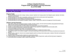 College of Applied Sciences Program Goals and Student Learning Outcomes