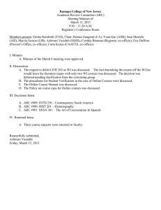Ramapo College of New Jersey Academic Review Committee (ARC) Meeting Minutes of