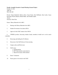 Faculty Assembly Executive Council Meeting (General Topics) October 15, 2014 ASB-230 900-1100 AM