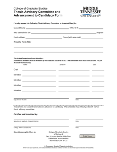 Thesis Advisory Committee and Advancement to Candidacy Form