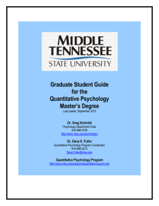 Graduate Student Guide for the Quantitative Psychology