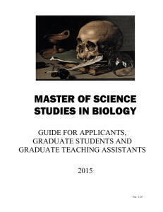 MASTER OF SCIENCE STUDIES IN BIOLOGY GUIDE FOR APPLICANTS,