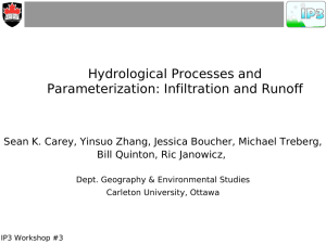 Hydrological Processes and Parameterization: Infiltration and Runoff Bill Quinton, Ric Janowicz,
