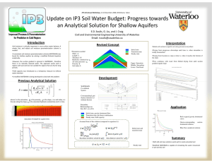 Update on IP3 Soil Water Budget: Progress towards