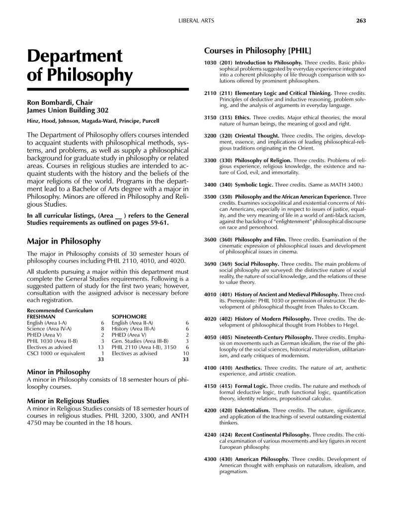 Department Of Philosophy Courses In Philosophy Phil