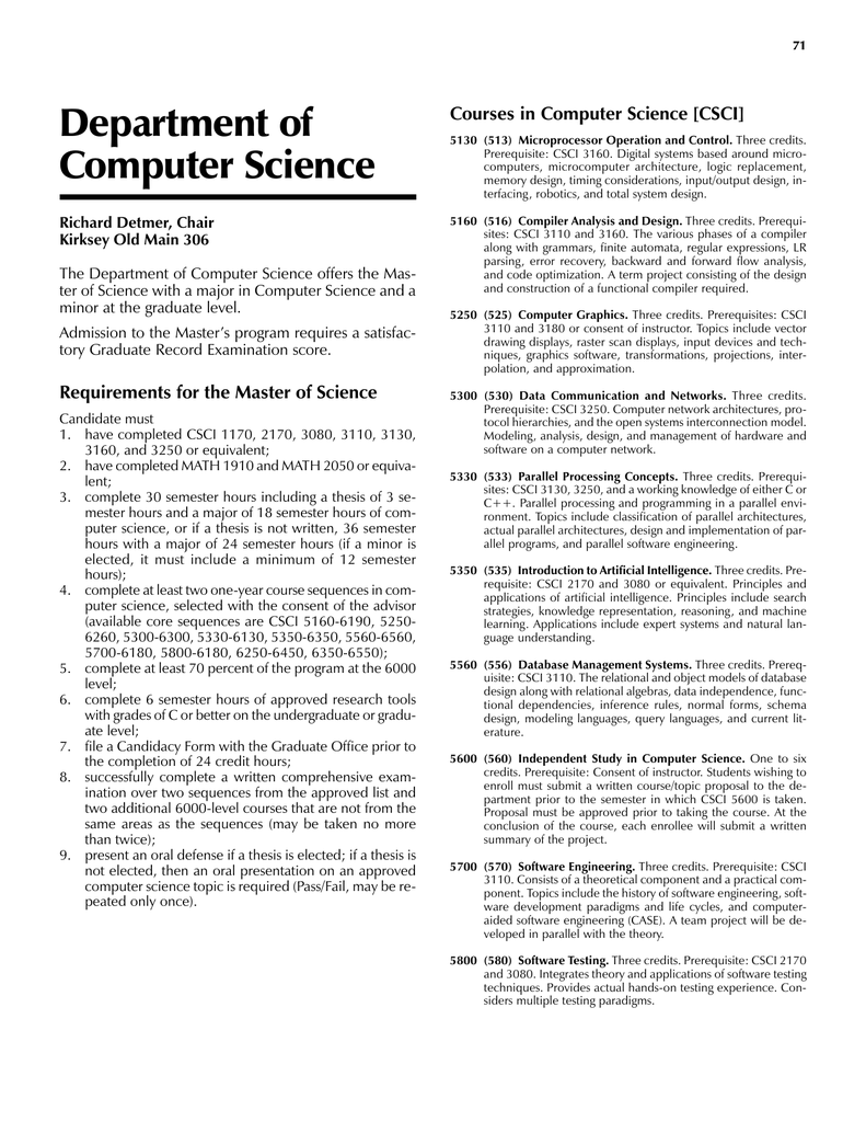 Department Of Computer Science Courses In Computer Science Csci