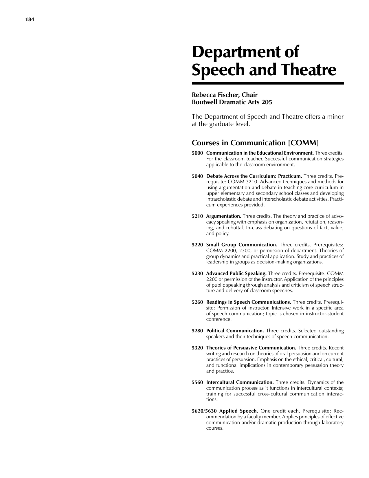 Department of Speech and Theatre Courses in Communication