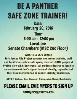 BE A PANTHER SAFE ZONE TRAINER! Date: February  20,  2016