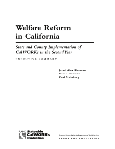 Welfare Reform in California State and County Implementation of
