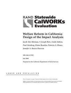 Welfare Reform in California: Design of the Impact Analysis