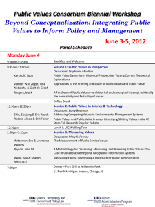 June 3-5, 2012 Beyond Conceptualization: Integrating Public Public Values Consortium Biennial Workshop