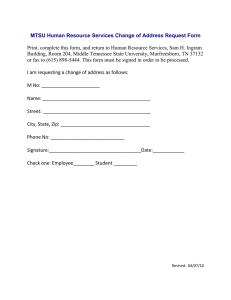 MTSU Human Resource Services Change of Address Request Form