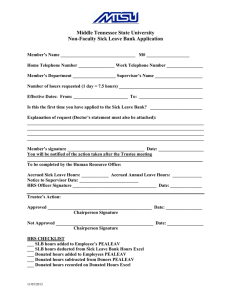 Middle Tennessee State University Non-Faculty Sick Leave Bank Application