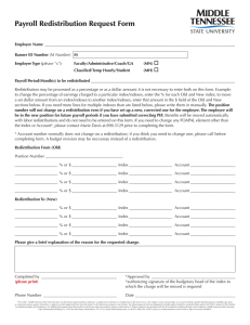Payroll Redistribution Request Form o