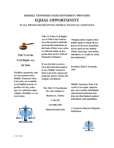 EQUAL OPPORTUNITY MIDDLE  TENNESSEE STATE UNIVERSITY PROVIDES