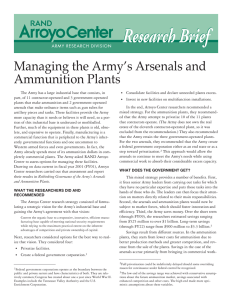 Research B rief Managing the Army's Arsenals and Ammunition Plants