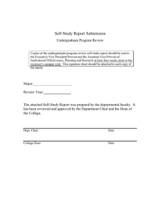 Self-Study Report Submission Undergraduate Program Review