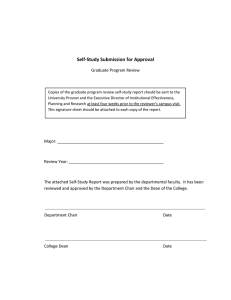 Self‐Study Submission for Approval  Graduate Program Review