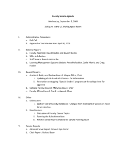 Faculty Senate Agenda Wednesday, September 2, 2009