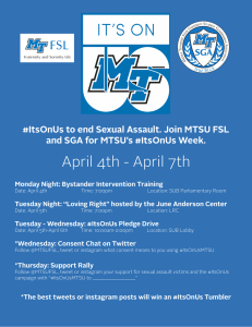 April 4th - April 7th and SGA for MTSU's #ItsOnUs Week.