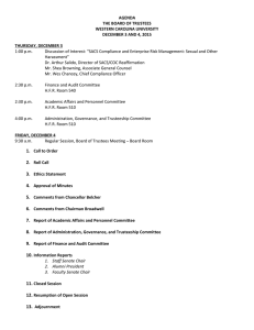 AGENDA THE BOARD OF TRUSTEES WESTERN CAROLINA UNIVERSITY DECEMBER 3 AND 4, 2015