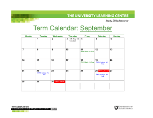 Term Calendar: September THE UNIVERSITY LEARNING CENTRE Study Skills Resource 1