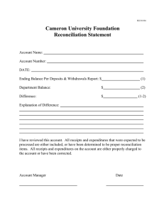 Cameron University Foundation Reconciliation Statement
