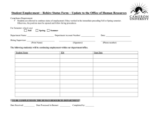 Student Employment – Rehire Status Form – Update to the...
