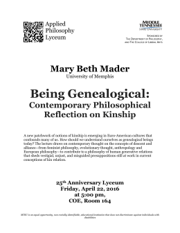 Being Genealogical:  Mary Beth Mader Contemporary Philosophical