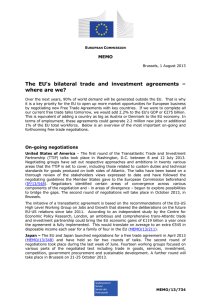The EU's bilateral trade and investment agreements – where are we? MEMO