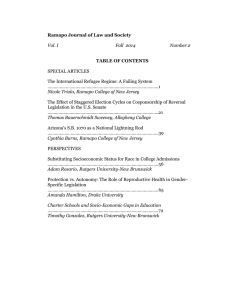 Ramapo Journal of Law and Society TABLE OF CONTENTS SPECIAL ARTICLES