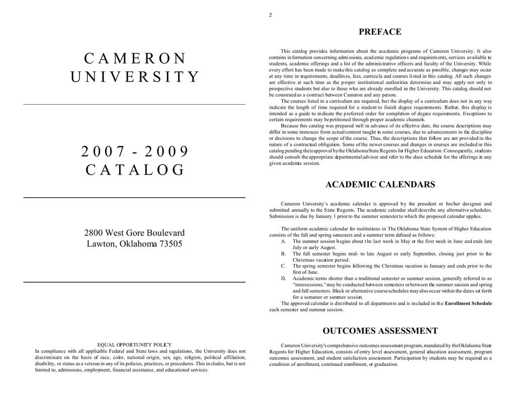 Oklahoma State Academic Calendar.C A M E R O N Preface