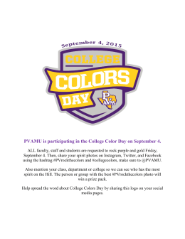 PVAMU is participating in the College Color Day on September...
