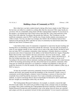 Building a Sense of Community at WCU