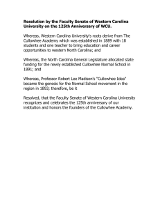 Resolution by the Faculty Senate of Western Carolina