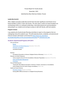 Provost Report for Faculty Senate November, 2015 Submitted by Alison Morrison-Shetlar, Provost