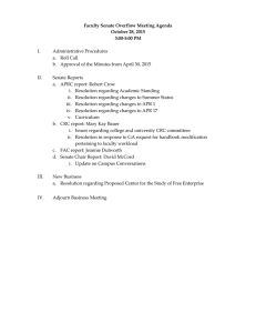 Faculty Senate Overflow Meeting Agenda October 28, 2015 3:00-5:00 PM