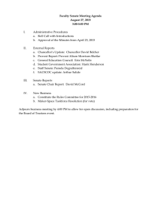 Faculty Senate Meeting Agenda August 27, 2015 3:00-5:00 PM