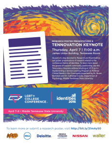 TENNOVATION KEYNOTE Thursday, April 7 | 11:00 a.m.