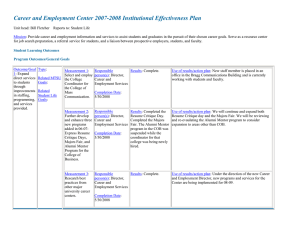 Career And Employment Center 2007 2008 Institutional Effectiveness Plan