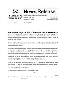 Cameron to provide volunteer tax assistance
