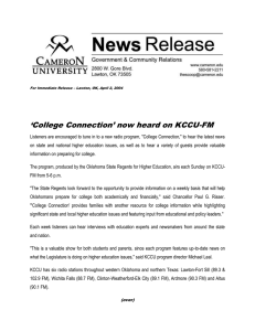 'College Connection' now heard on KCCU-FM