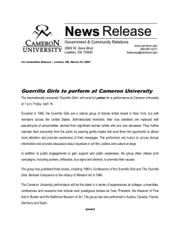 Guerrilla Girls to perform at Cameron University
