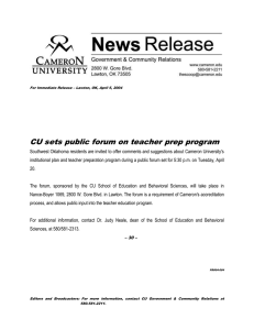 CU sets public forum on teacher prep program