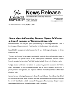 Henry signs bill making Duncan Higher Ed Center