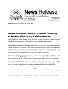 Health Education Center at Cameron University to sponsor bioterrorism training exercise