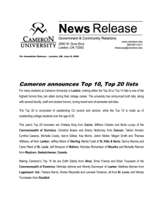 Cameron announces Top 10, Top 20 lists