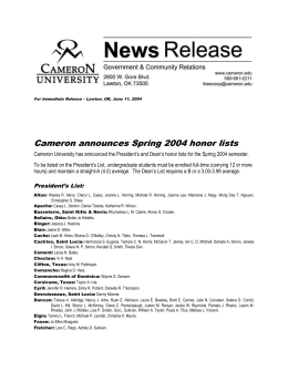 Cameron announces Spring 2004 honor lists